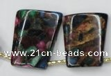 CGO45 Top-drilled 22*28mm trapezoid gold multi-color stone beads