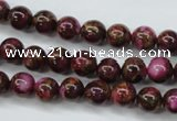 CGO52 15.5 inches 6mm round gold red color stone beads