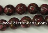 CGO57 15.5 inches 16mm round gold red color stone beads