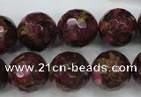 CGO68 15.5 inches 18mm faceted round gold red color stone beads