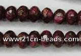 CGO75 15.5 inches 8*12mm faceted rondelle gold red color stone beads