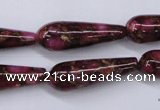 CGO79 15.5 inches 10*30mm teardrop gold red color stone beads