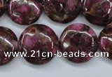 CGO90 15.5 inches 20mm flat round gold red color stone beads