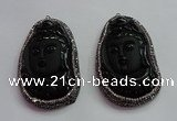CGP1570 40*65mm carved black obsidian pendants wholesale
