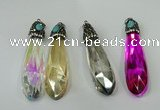 CGP249 17*70mm faceted teardrop crystal glass pendants wholesale