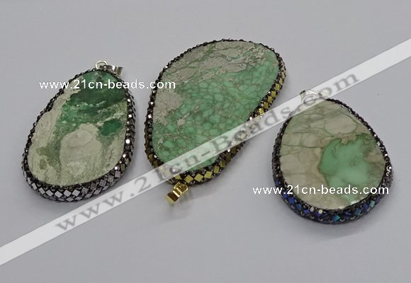 CGP3028 35*50mm - 40*65mm freeform green apple jasper pendants