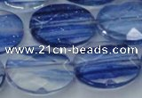 CGQ101 15.5 inches 15*20mm faceted oval blue gold sand quartz beads