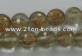 CGQ26 15.5 inches 12mm faceted round gold sand quartz beads