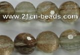 CGQ29 15.5 inches 18mm faceted round gold sand quartz beads