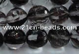 CGQ39 15.5 inches 8mm faceted round black gold sand quartz beads
