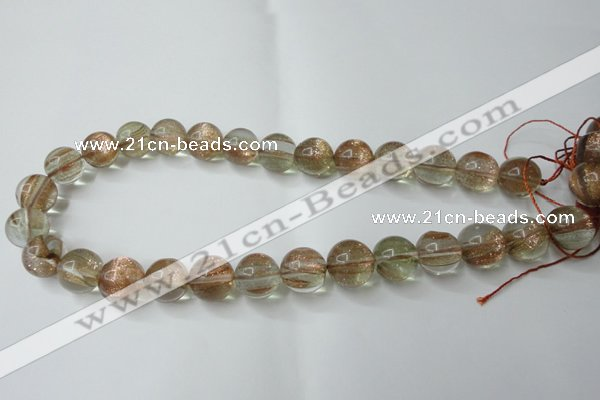 CGQ61 15.5 inches 14mm round gold sand quartz beads wholesale