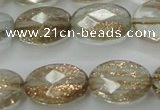 CGQ70 15.5 inches 10*14mm faceted oval gold sand quartz beads