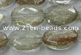 CGQ71 15.5 inches 12*16mm faceted oval gold sand quartz beads