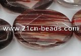 CGQ80 15.5 inches 30*40mm faceted oval red gold sand quartz beads