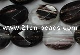 CGQ88 15.5 inches 15*20mm faceted oval black gold sand quartz beads