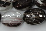 CGQ89 15.5 inches 18*25mm faceted oval black gold sand quartz beads