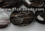 CGQ90 15.5 inches 20*30mm faceted oval black gold sand quartz beads