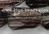 CGQ94 30*40mm faceted & twisted rectangle black gold sand quartz beads
