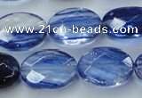 CGQ99 15.5 inches 12*16mm faceted oval blue gold sand quartz beads