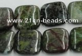 CGR19 16 inches 18*18mm square green rain forest stone beads wholesale