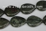 CGR24 15.5 inches 15*20mm flat teardrop green rain forest stone beads