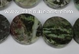 CGR38 15.5 inches 22mm coin green rain forest stone beads