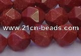 CGS453 15.5 inches 10mm faceted nuggets goldstone beads wholesale