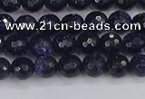 CGS478 15.5 inches 4mm faceted round blue goldstone beads