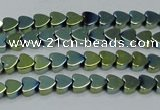 CHE1002 15.5 inches 6*6mm heart plated hematite beads wholesale