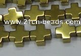 CHE1008 15.5 inches 10*10mm cross plated hematite beads wholesale