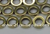 CHE1017 15.5 inches 12mm donut plated hematite beads wholesale