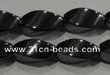 CHE162 15.5 inches 7*14mm twisted rice hematite beads