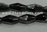 CHE220 15.5 inches 6*12mm faceted rice hematite beads wholesale