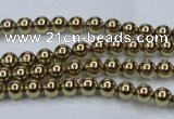 CHE432 15.5 inches 4mm round plated hematite beads wholesale