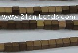 CHE441 15.5 inches 3*3mm cube matte plated hematite beads wholesale