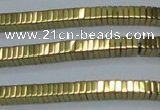 CHE571 15.5 inches 1*3*3mm square plated hematite beads wholesale