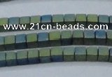 CHE612 15.5 inches 2*2mm cube matte plated hematite beads wholesale