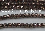 CHE701 15.5 inches 3mm faceted round plated hematite beads