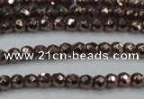CHE711 15.5 inches 4mm faceted round plated hematite beads