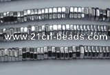 CHE833 15.5 inches 1*3mm hexagon plated hematite beads wholesale