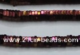 CHE837 15.5 inches 1*3mm hexagon plated hematite beads wholesale