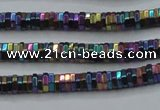 CHE838 15.5 inches 1*3mm hexagon plated hematite beads wholesale