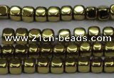 CHE868 15.5 inches 4*4mm dice platedhematite beads wholesale