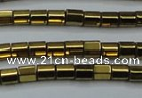 CHE899 15.5 inches 3*3mm faceted tube plated hematite beads wholesale