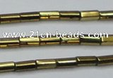 CHE908 15.5 inches 2*4mm faceted tube plated hematite beads wholesale