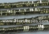 CHE915 15.5 inches 1*4mm hexagon plated hematite beads wholesale
