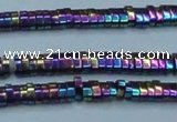 CHE933 15.5 inches 1*2*3mm oval plated hematite beads wholesale