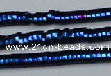 CHE934 15.5 inches 1*2*3mm oval plated hematite beads wholesale