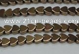 CHE993 15.5 inches 4*4mm heart plated hematite beads wholesale