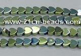 CHE994 15.5 inches 4*4mm heart plated hematite beads wholesale